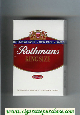 Discount Rothmans King Size Special Mild By Special Appointment cigarettes hard box