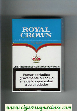Royal Crown English Blend cigarettes white and light blue hard box