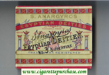 S.Anargyros Egyptian Deities cigarettes wide flat hard box