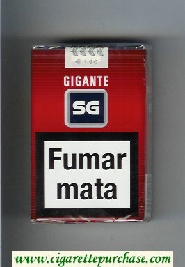 SG Gigante cigarettes red and black and grey soft box