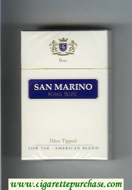 San Marino cigarettes white and blue hard box