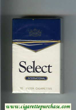 Select International cigarettes white and blue hard box