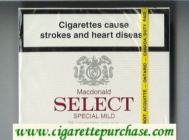 Select Macdonald Special Mild 25 cigarettes wide flat hard box
