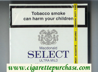 Select Macdonald Ultra Mild 25 cigarettes wide flat hard box