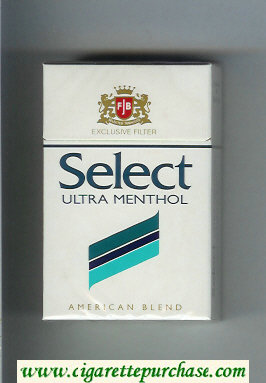 Select Ultra Menthol Exlusive Filter American Blend cigarettes hard box