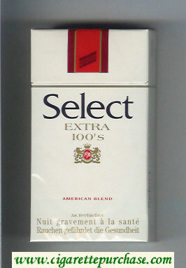 Select Extra 100s American Blend cigarettes hard box