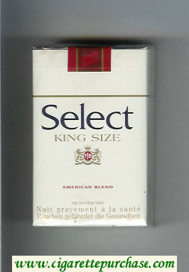 Select King Size American Blend cigarettes soft box