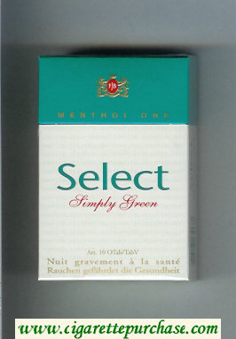 Select Simply Green Menthol One cigarettes hard box