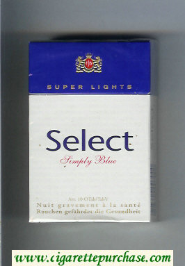 Select Simply Blue Super Lights cigarettes hard box
