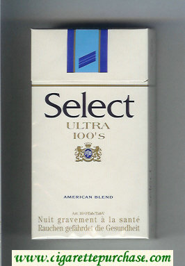 Select Ultra 100s American Blend cigarettes hard box