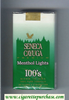 Discount Seneca Cayuga Premium Menthol Lights 100s cigarettes soft box