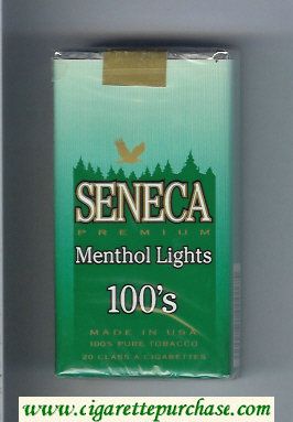 Discount Seneca Premium Menthol Lights 100s cigarettes soft box