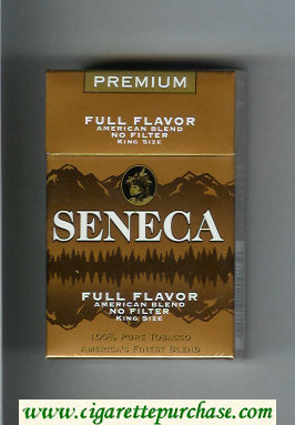 Discount Seneca Premium Full Flavor American Blend No Filter cigarettes hard box
