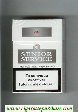 Senior Service cigarettes white and grey hard box