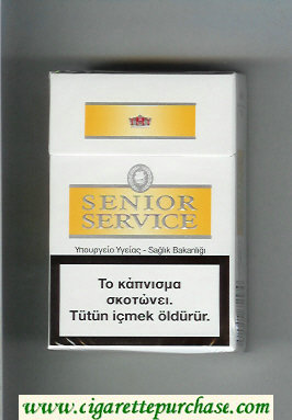Senior Service cigarettes white and yellow hard box