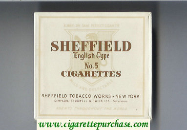 Sheffield English Type No 5 Cigarettes Mild and Delectable cigarettes wide flat hard box