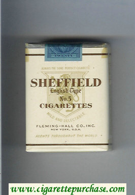 Sheffield English Type No 5 Cigarettes Mild and Delectable cigarettes soft box