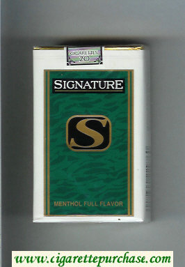 Signature S Menthol Full Flavor cigarettes soft box