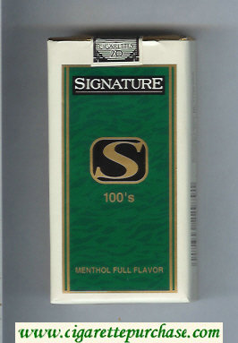 Signature S Menthol Full Flavor 100s cigarettes soft box