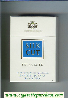 Discount Silk Cut Extra Mild cigarettes white and blue hard box