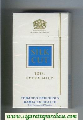 Discount Silk Cut Extra Mild 100s cigarettes white and blue hard box