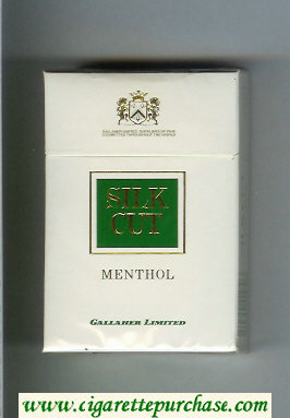 Discount Silk Cut Menthol Gallaher Limited cigarettes white and green hard box