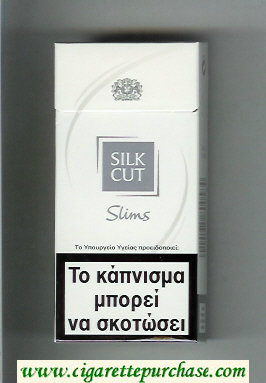 Discount Silk Cut Slims 100s cigarettes white and silver hard box