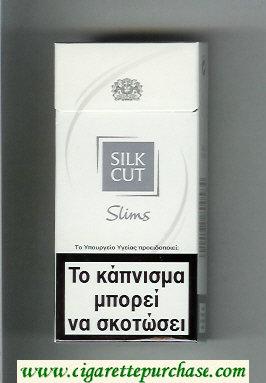 Discount Silk Cut Slims 100s cigarettes white and silver hard box