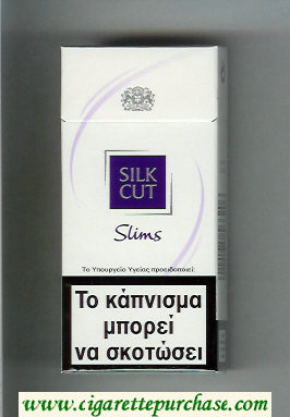 Discount Silk Cut Slims 100s cigarettes white and violet hard box