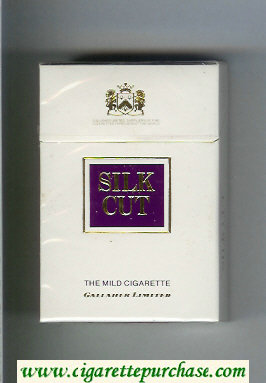 Discount Silk Cut The Mild Cigarette Gallaher Limited cigarettes white and violet hard box