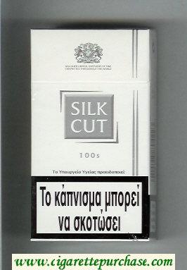 Discount Silk Cut 100s cigarettes white and silver hard box