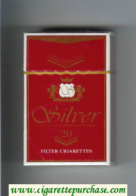 Silver cigarettes red hard box