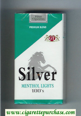 Silver Menthol Lights 100s Premium Blend cigarettes soft box