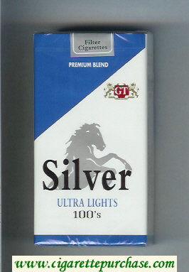 Silver Ultra Lights 100s Premium Blend cigarettes soft box