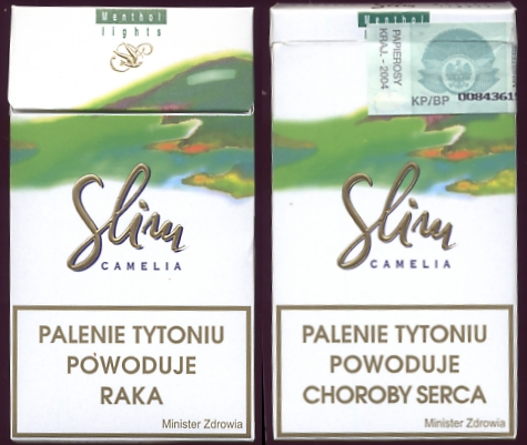 Slim Camelia Menthol Lights 100s cigarettes hard box