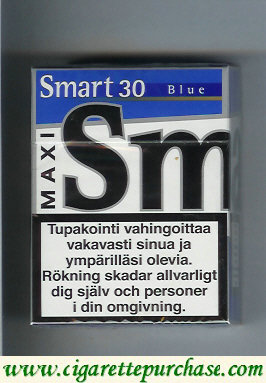 Smart 30 Blue Maxi cigarettes Smooth Taste hard box