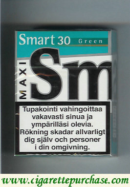 Smart 30 Green Maxi cigarettes Menthol Taste hard box