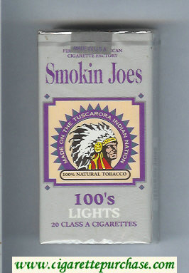 Smokin Joes 100s Lights cigarettes soft box