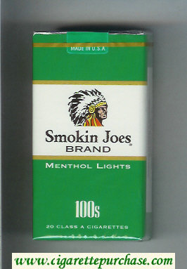 Smokin Joes Brand Menthol Lights 100s cigarettes soft box