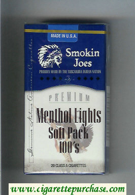 Smokin Joes Premium Menthol Lights Soft Pack 100s cigarettes soft box