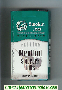 Smokin Joes Premium Menthol Soft Pack 100s cigarettes soft box