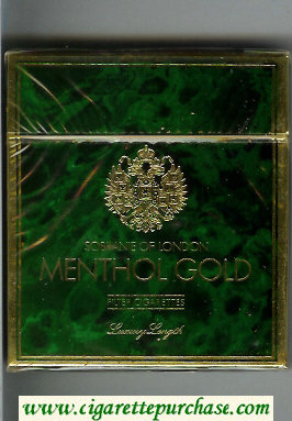 Sobranie of London Menthol Gold 100s cigarettes wide flat hard box