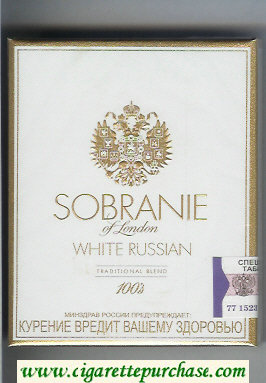 Sobranie of London White Russian 100s cigarettes wide flat hard box