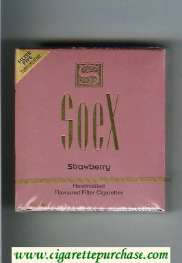 Soex Strawberry cigarettes wide flat hard box