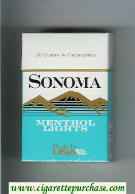 Discount Sonoma Menthol Lights cigarettes hard box