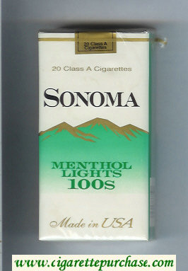 Discount Sonoma Menthol Lights 100s cigarettes soft box