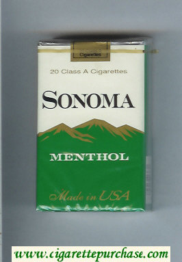 Discount Sonoma Menthol cigarettes soft box