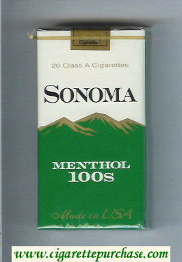 Discount Sonoma Menthol 100s cigarettes soft box