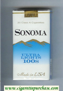 Discount Sonoma Ultra Lights 100s cigarettes soft box