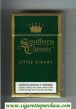 Southern Classic Little Cigars 100s cigarettes Menthol hard box